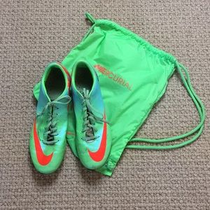 Nike Green Mercurial cleats with bag men's 10.5